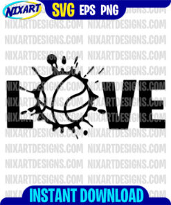 LOVE basketball svg and png files for cutting and print