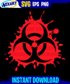 Biohazard svg and png files for cutting and print. Version for Black