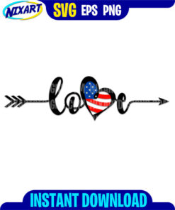 4th of July Love svg and png files for cutting and print.