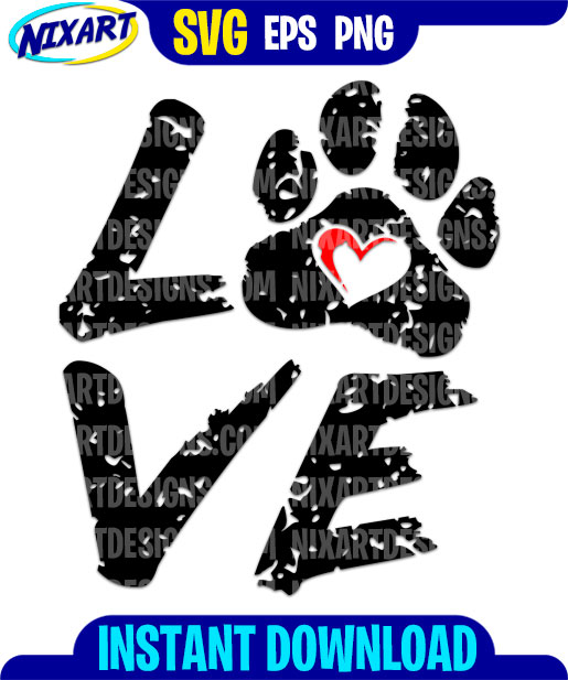 Download Love with paw svg and png files for cutting and print ...