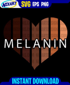 Melanin Heart svg and png files for cutting and print. Version for Black.
