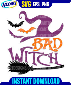 Bad Witch svg and png files for cutting and print.