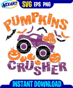 Pumpkins Crusher svg and png files for cutting and print.