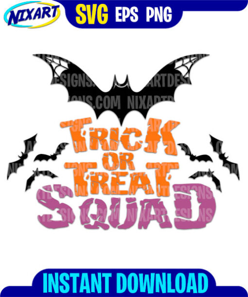 Trick Or Treat Squad svg and png files for cutting and print.