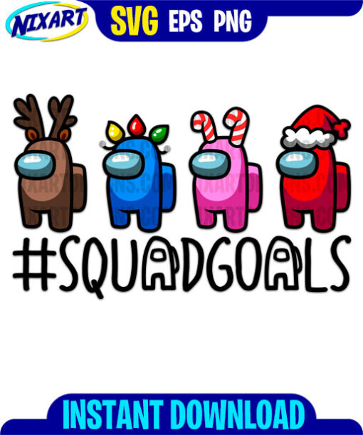 Christmas Gamer Squadgoals svg and png files for cutting and print.